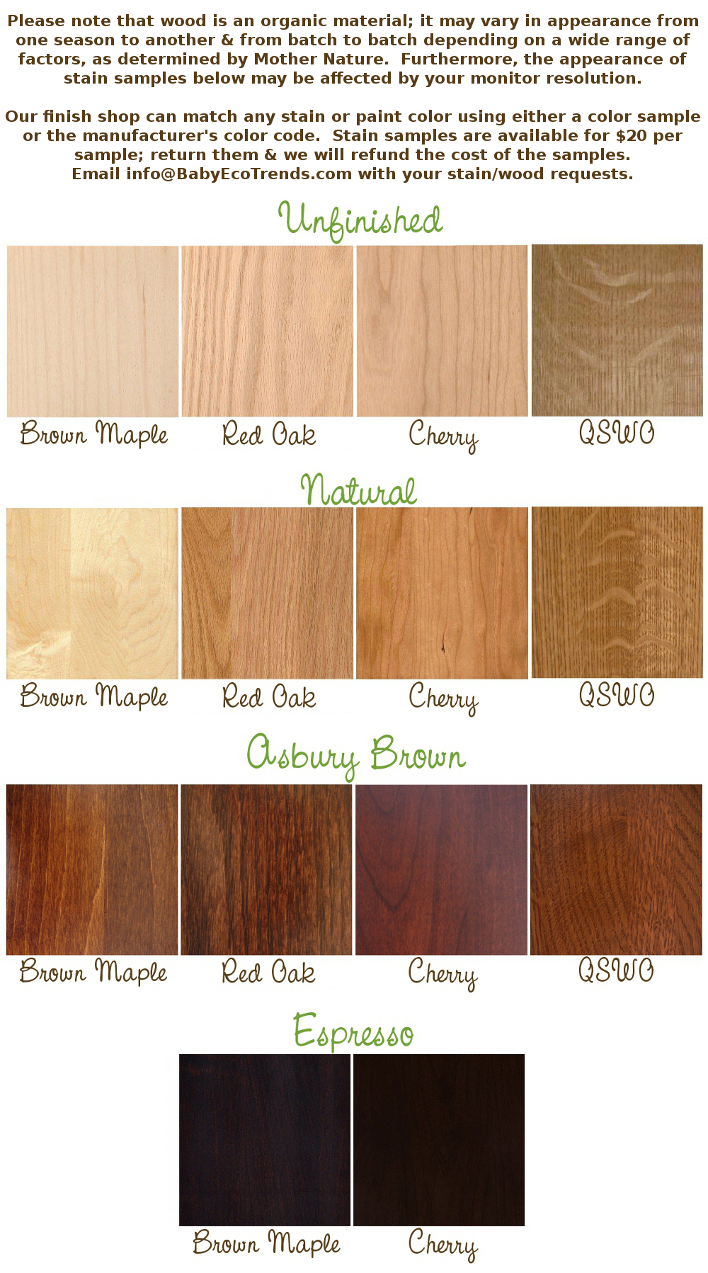 BabyEcoTrends.com Stain & Wood Samples