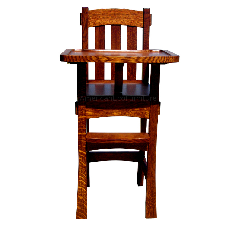 Amish Wooden High Chair Arts U0026 Crafts   Made In USA   American Eco Furniture