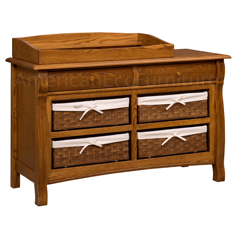 6 Drawer Dresser with Basket Drawers (Shown in Red Oak)