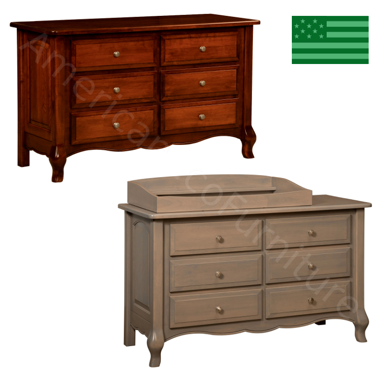 French Country 6 Drawer Dresser & Baby Changer
