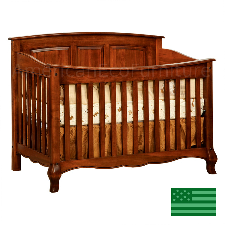 4 in 1 Convertible Baby Crib (Shown in Brown Maple)