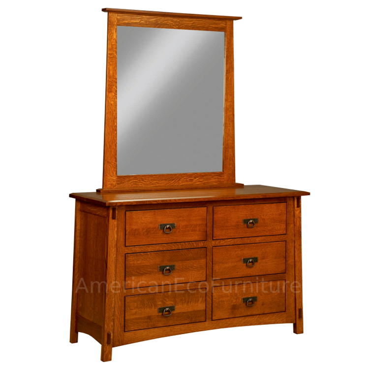 6 Drawer Dresser with Mirror (Shown in QSWO)