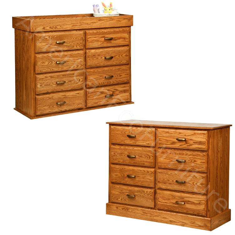 8 Drawer Reversible Dresser (Shown in Red Oak)