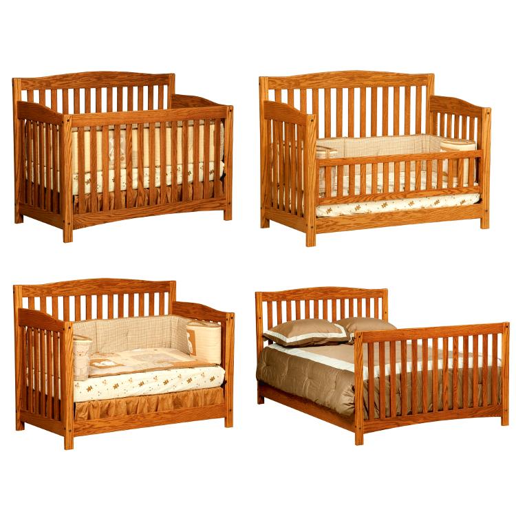 4 in 1 Convertible Crib (Shown in Red Oak)