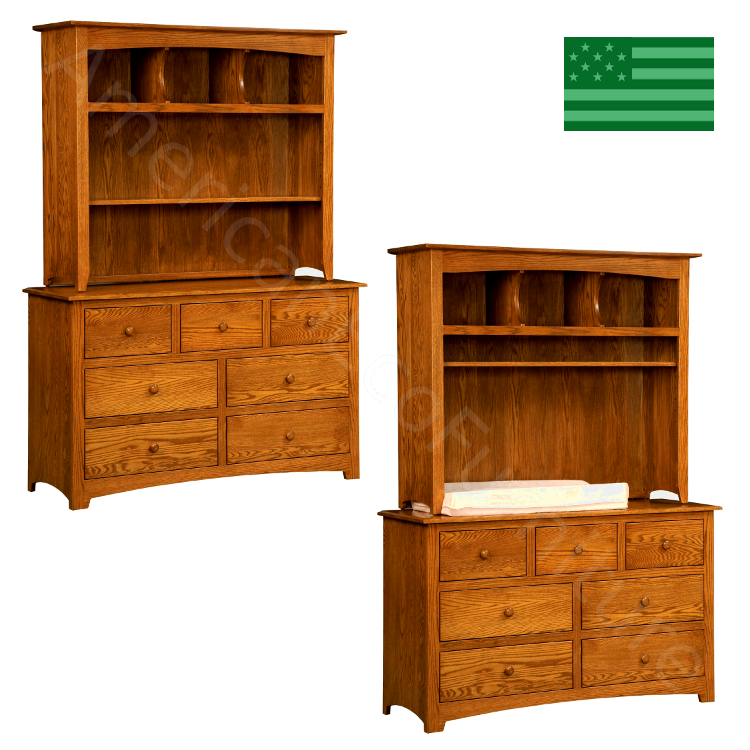 Monterey 7 Drawer Dresser & Baby Changer with Hutch