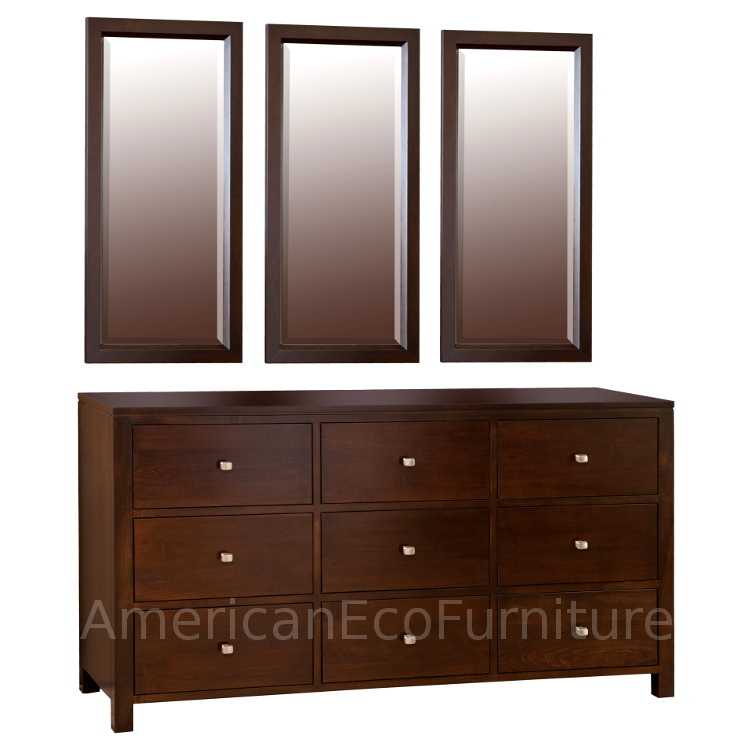 9 Drawer Dresser & Triple Mirrors