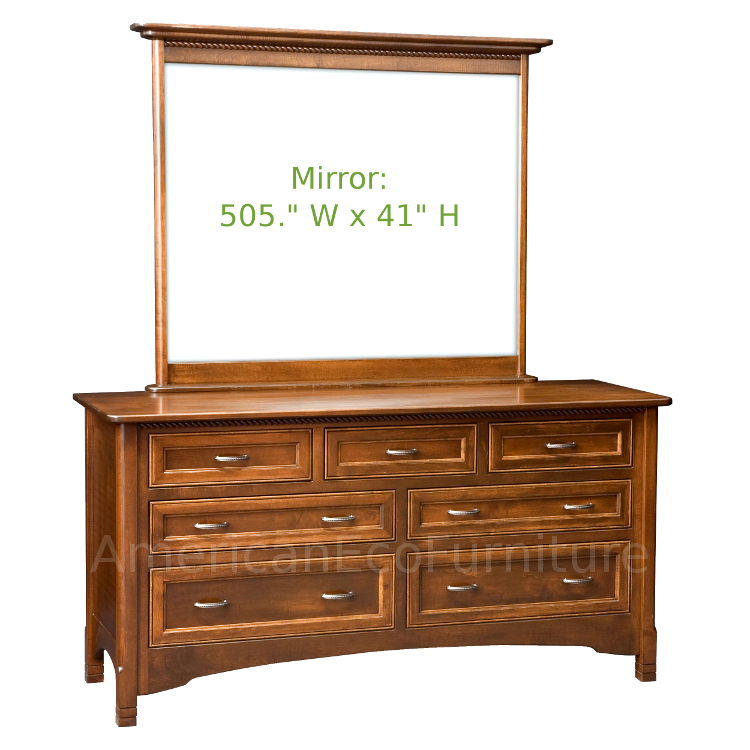 7 Drawer Dresser with Mirror (Shown in Brown Maple)