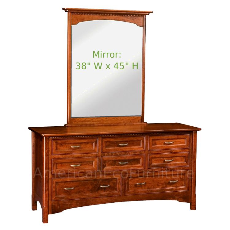 8 Drawer Dresser with Mirror (Shown in Brown Maple)