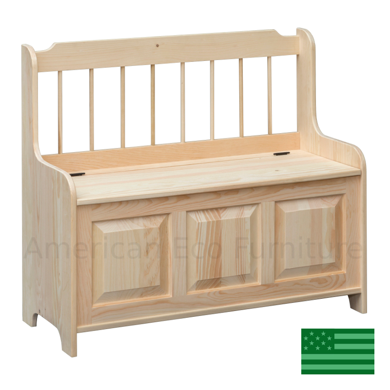 Spindle Bench With Storage Made In Usa American Eco Furniture