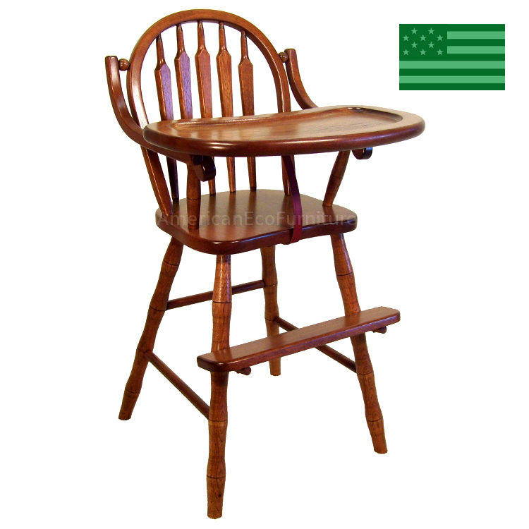 Amish Wooden High Chair Arrow Usa Made Baby Furniture American Eco Furniture