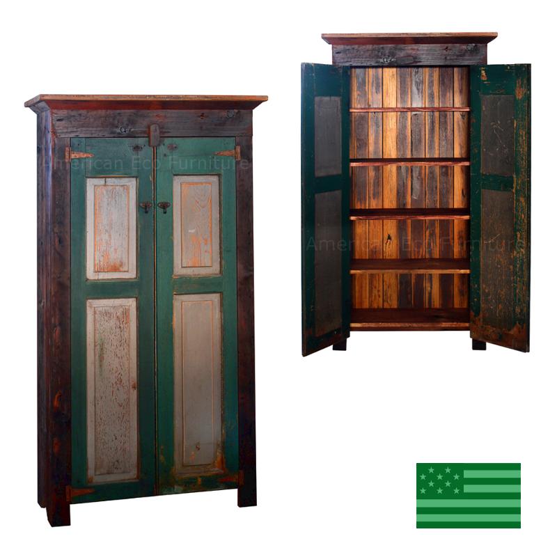 Aura Double Panel Shutter Cabinet   Reclaimed Barnwood