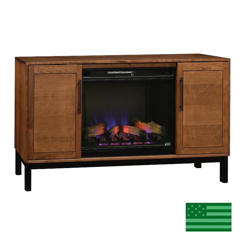 Captiva Media Cabinet with Sliding Doors & Fireplace