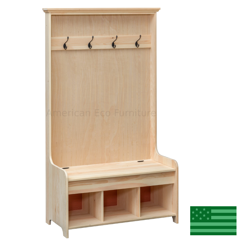 Hall Tree With Settler S Bench Made In Usa American Eco