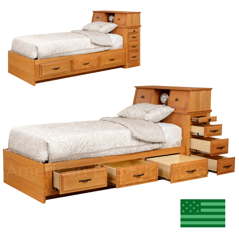 Tyler stgorage platform bed made in usa american eco for American made beds