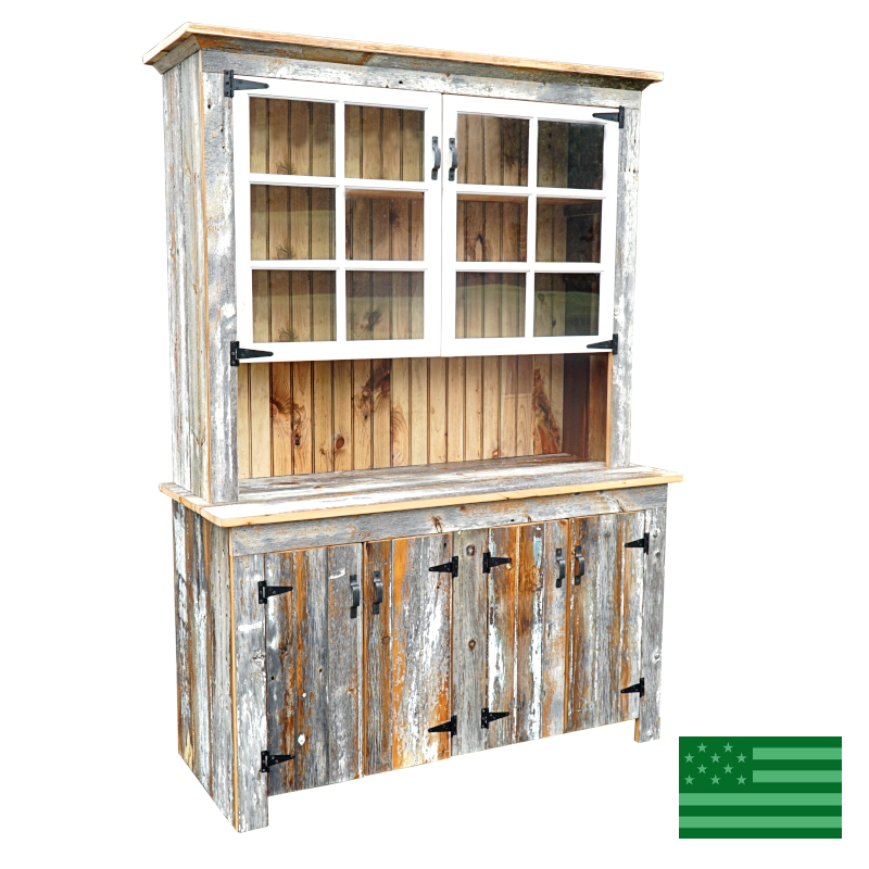 Aura 4 Door Hutch - Reclaimed Barnwood
