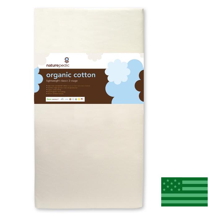 Naturepedic Organic Lightweight Classic 2 Stage Baby Crib Mattress - Waterproof