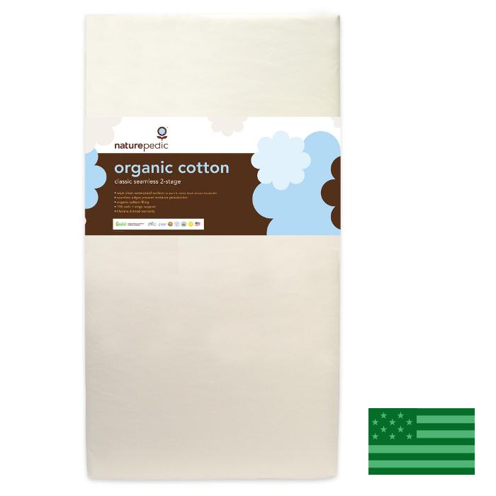 Naturepedic Organic Classic 150 Seamless 2 Stage Baby Crib Mattress - Waterproof