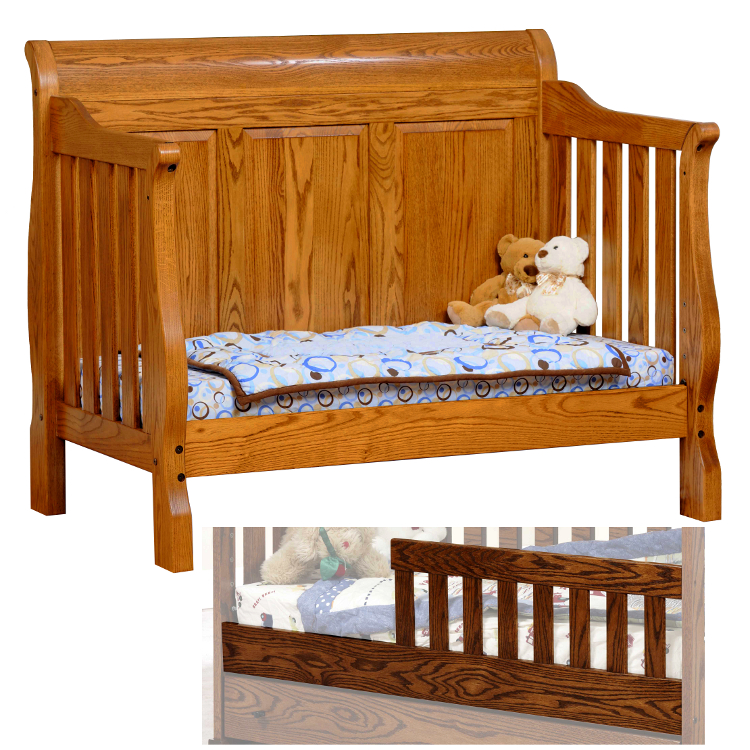 Sleigh Panel Convertible Baby Crib Made In Usa Solid