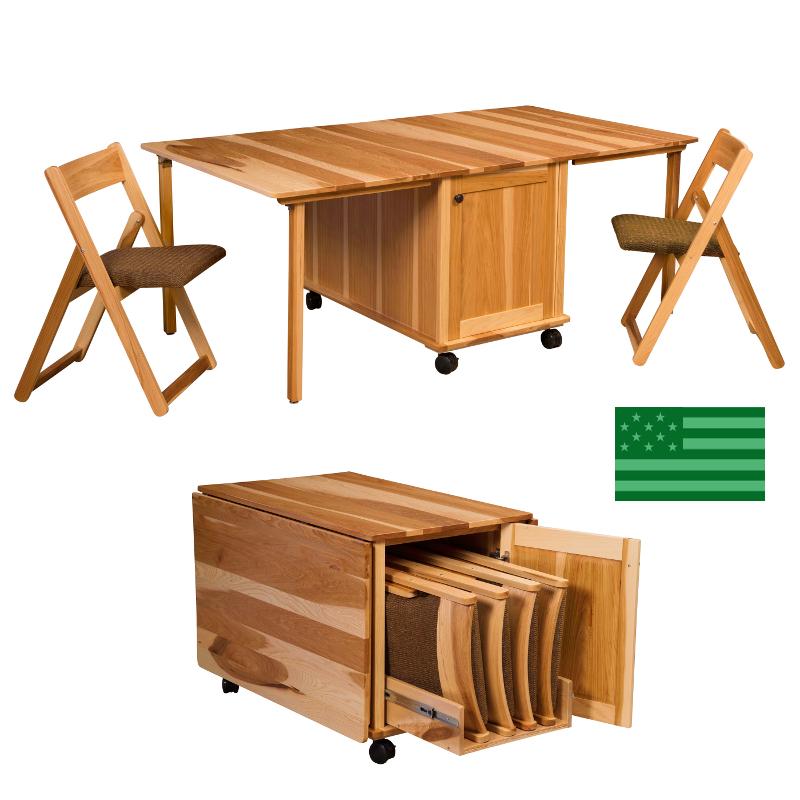 Amish Solid Wood Heirloom Furniture Made in USA Celeste  : madeinamericaamishcelestestoragefoldingtables800f from www.americanecofurniture.com size 800 x 800 jpeg 363kB