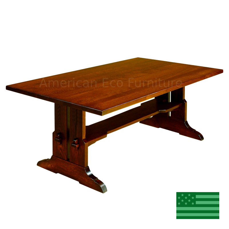 Fresno trestle dining table made in usa solid wood for Dining room tables made in usa