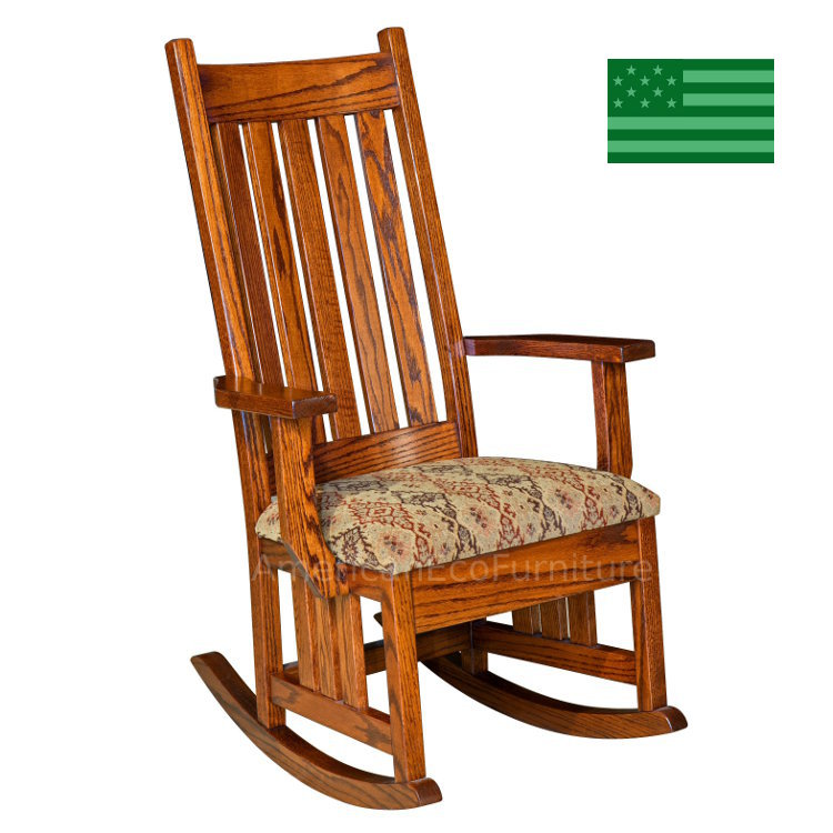 Amish Hoosier Mission Rocking Chair With Upholstered Seat