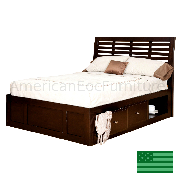 Amish parkview platform storage bed usa made bedroom for American made beds