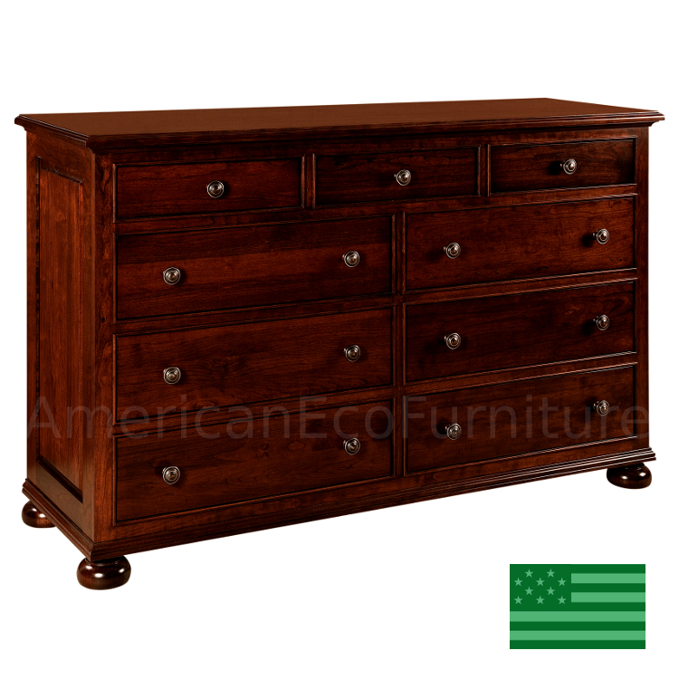 Amish Rosemead 9 Drawer Dresser Solid Wood Made In Usa
