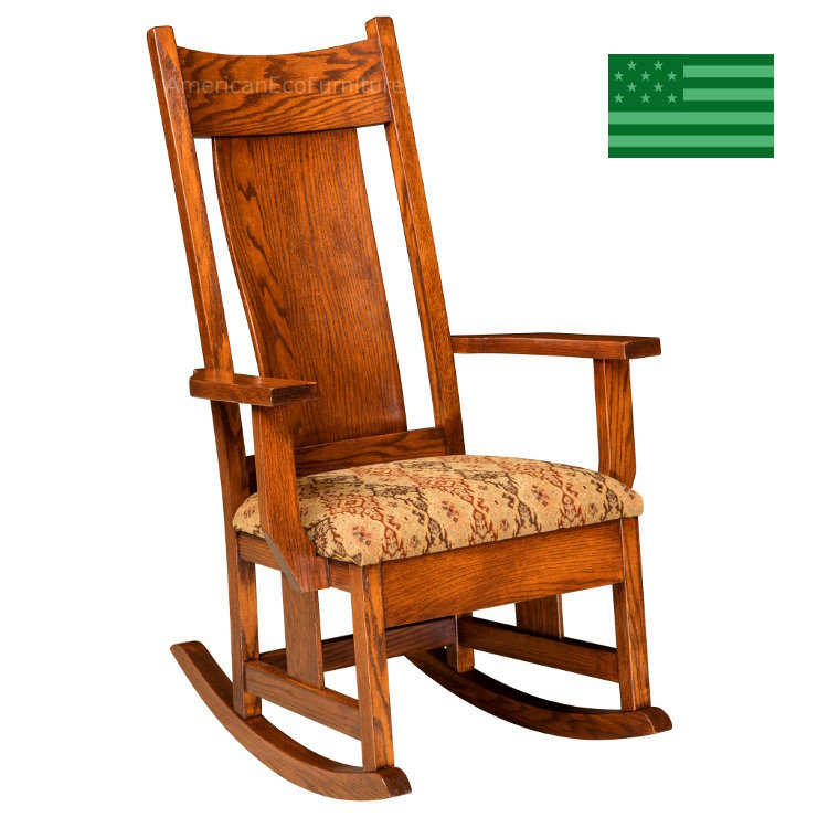 Amish Shelby Rocking Chair With Upholstered Seat Solid